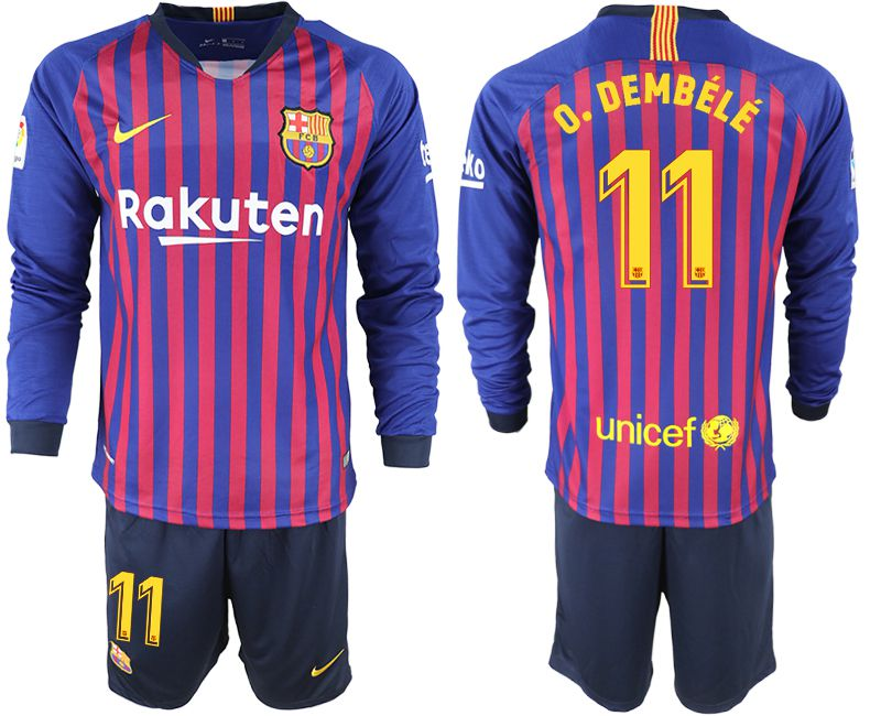 Men 2018-2019 club Barcelona home long sleeve 11 blue soccer jersey
