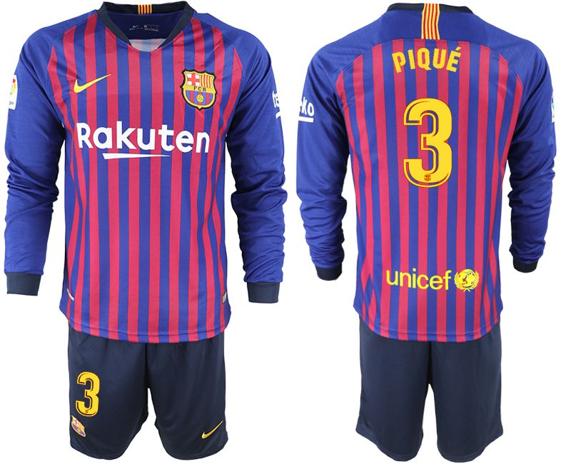 Men 2018-2019 club Barcelona home long sleeve 3 blue soccer jersey