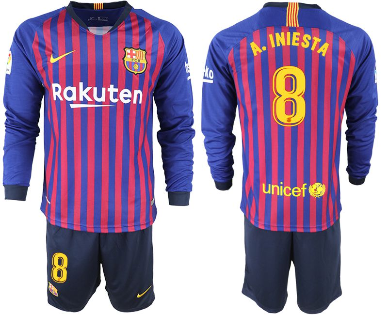 Men 2018-2019 club Barcelona home long sleeve 8 blue soccer jersey