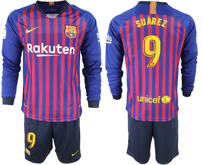Men 2018-2019 club Barcelona home long sleeve 9 blue soccer jersey
