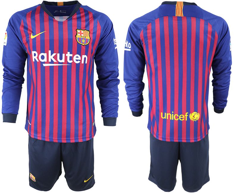 Men 2018-2019 club Barcelona home long sleeve blue soccer jersey