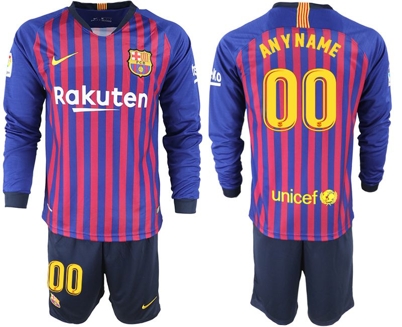 Men 2018-2019 club Barcelona home long sleeve customized blue soccer jersey