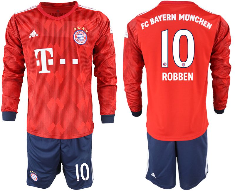 Men 2018-2019 club Bayern Munich home long sleeves 10 red soccer jersey