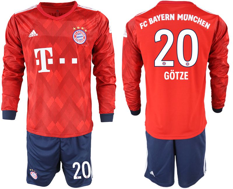 Men 2018-2019 club Bayern Munich home long sleeves 20 red soccer jersey