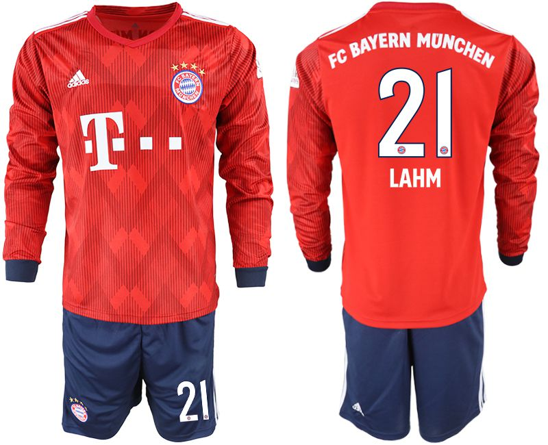Men 2018-2019 club Bayern Munich home long sleeves 21 red soccer jersey
