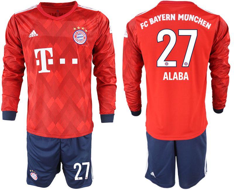 Men 2018-2019 club Bayern Munich home long sleeves 27 red soccer jersey