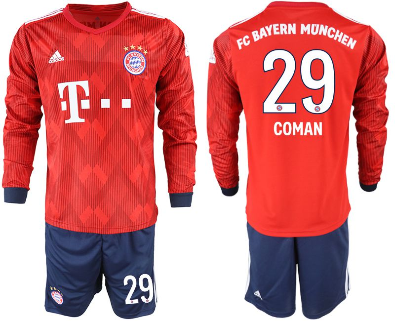 Men 2018-2019 club Bayern Munich home long sleeves 29 red soccer jersey
