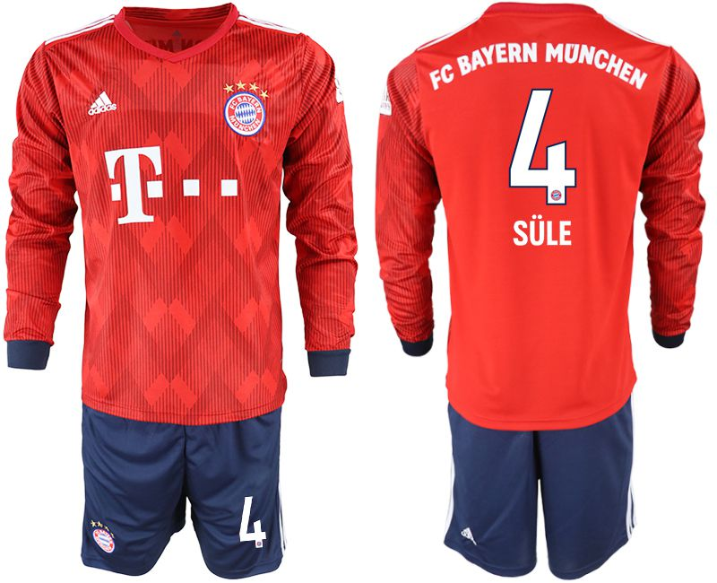 Men 2018-2019 club Bayern Munich home long sleeves 4 red soccer jersey