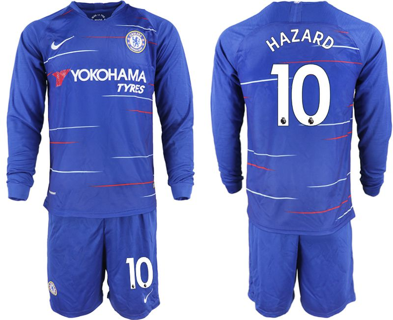Men 2018-2019 club Chelsea ahome Long sleeve 10 blue soccer jerseys