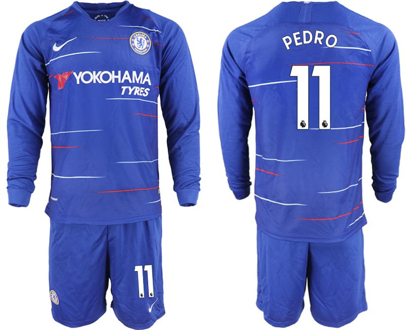 Men 2018-2019 club Chelsea ahome Long sleeve 11 blue soccer jerseys