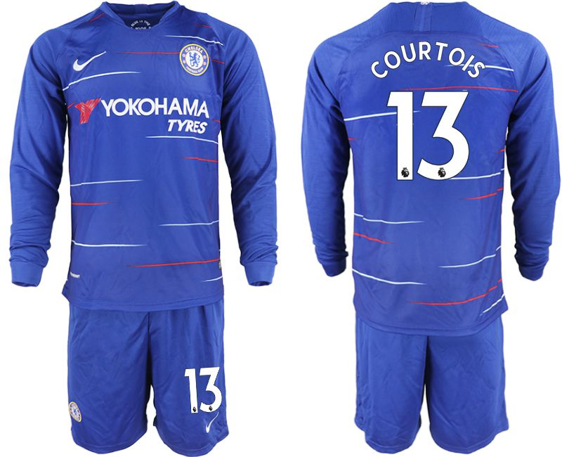 Men 2018-2019 club Chelsea ahome Long sleeve 13 blue soccer jerseys