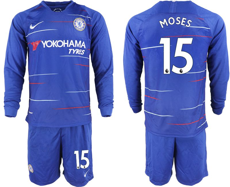 Men 2018-2019 club Chelsea ahome Long sleeve 15 blue soccer jerseys