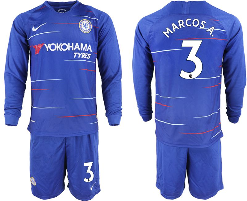 Men 2018-2019 club Chelsea ahome Long sleeve 3 blue soccer jerseys