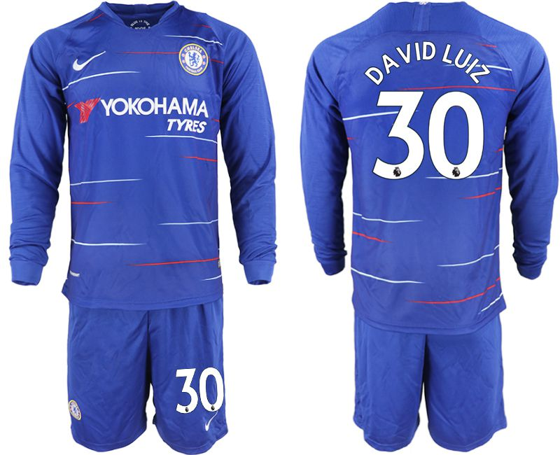 Men 2018-2019 club Chelsea ahome Long sleeve 30 blue soccer jerseys