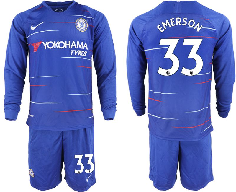 Men 2018-2019 club Chelsea ahome Long sleeve 33 blue soccer jerseys