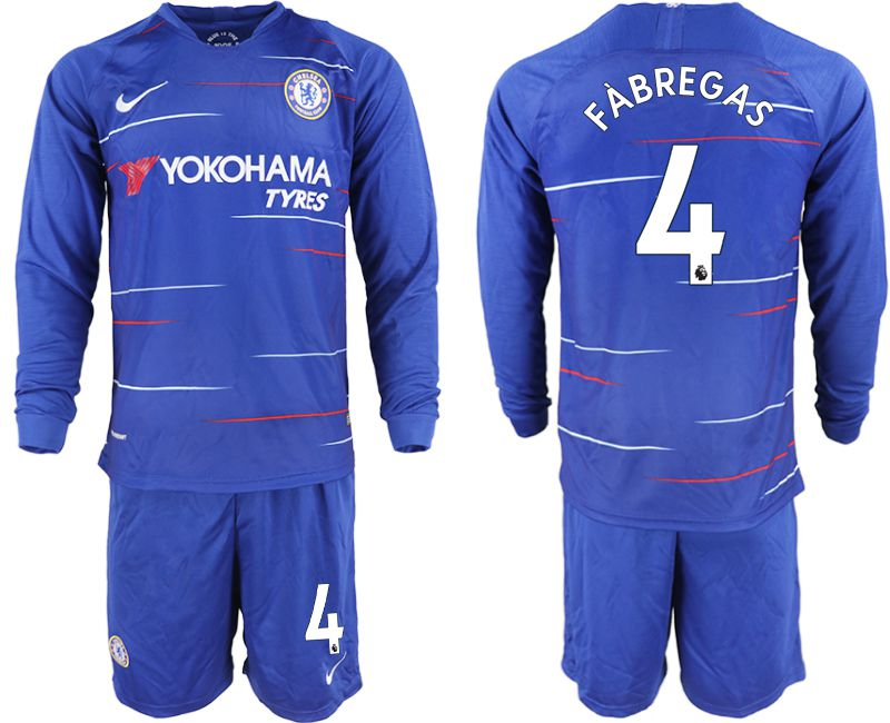 Men 2018-2019 club Chelsea ahome Long sleeve 4 blue soccer jerseys