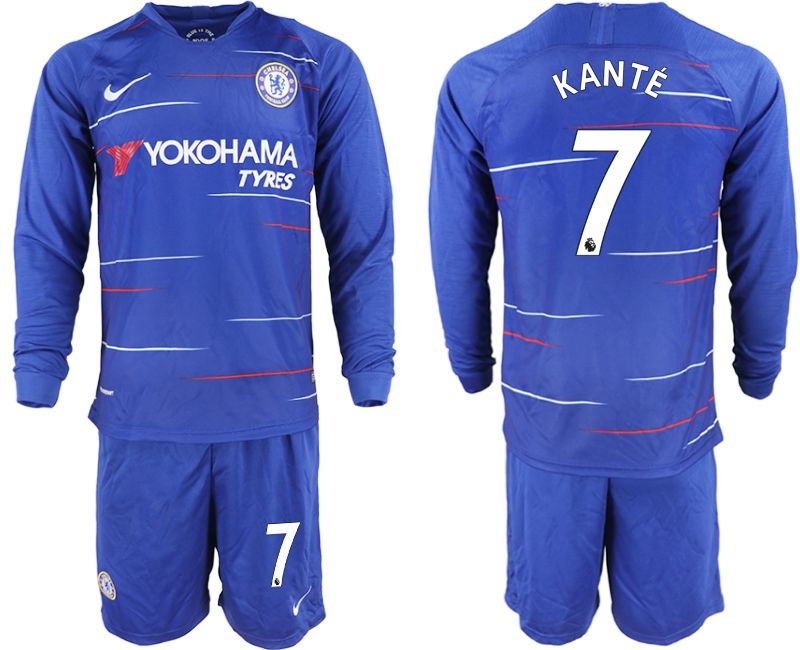 Men 2018-2019 club Chelsea ahome Long sleeve 7 blue soccer jerseys