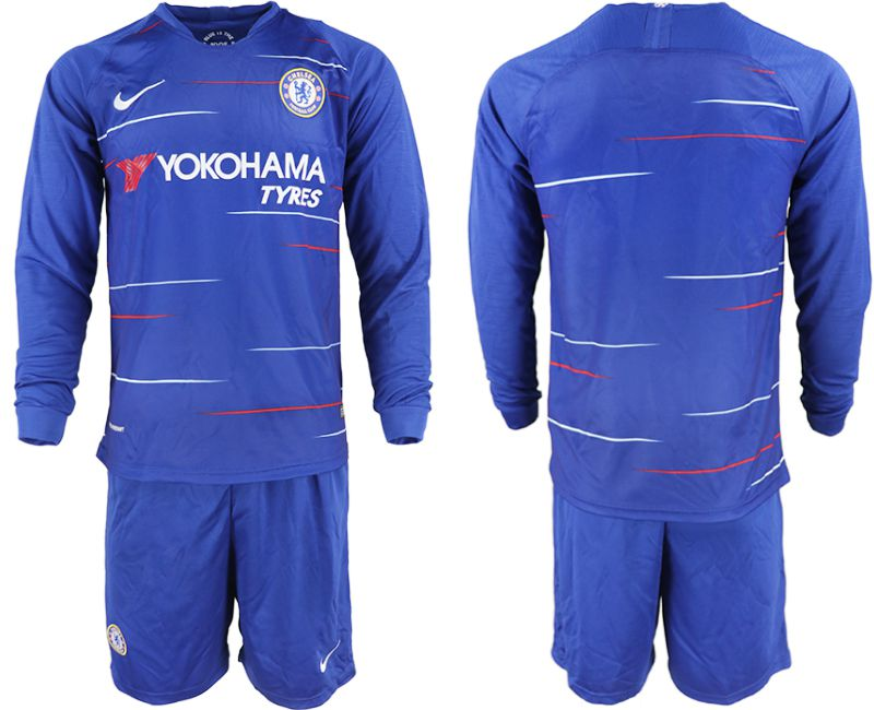 Men 2018-2019 club Chelsea ahome Long sleeve blue soccer jerseys