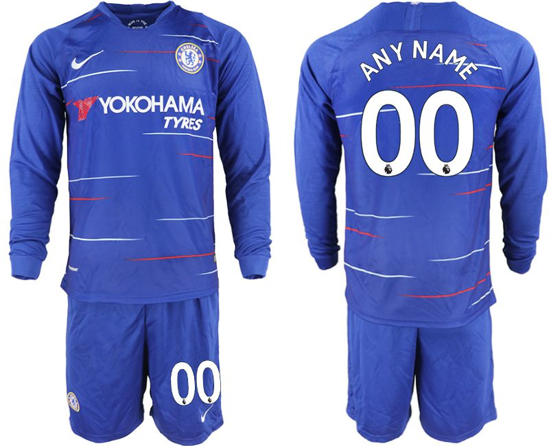 Men 2018-2019 club Chelsea ahome Long sleeve customized blue soccer jerseys