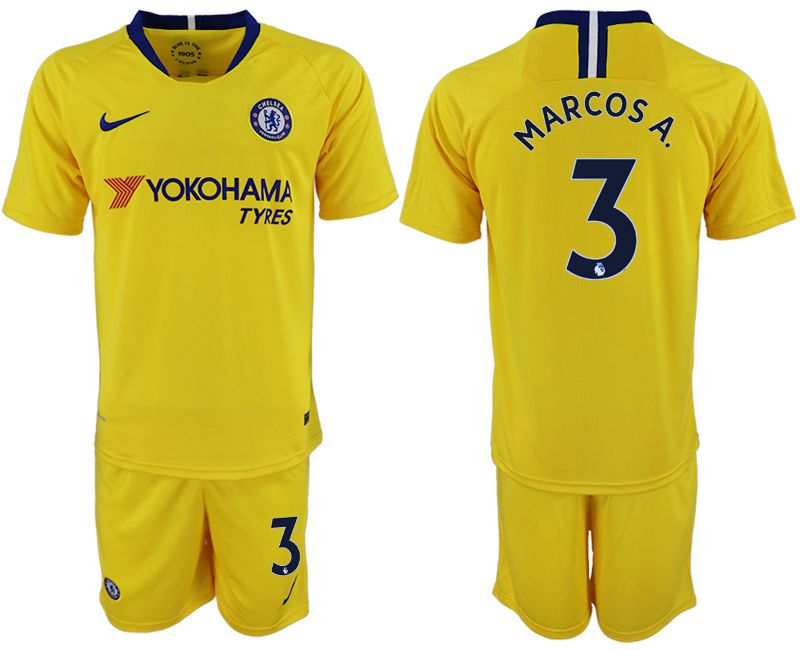 Men 2018-2019 club Chelsea away 3 yellow soccer jersey