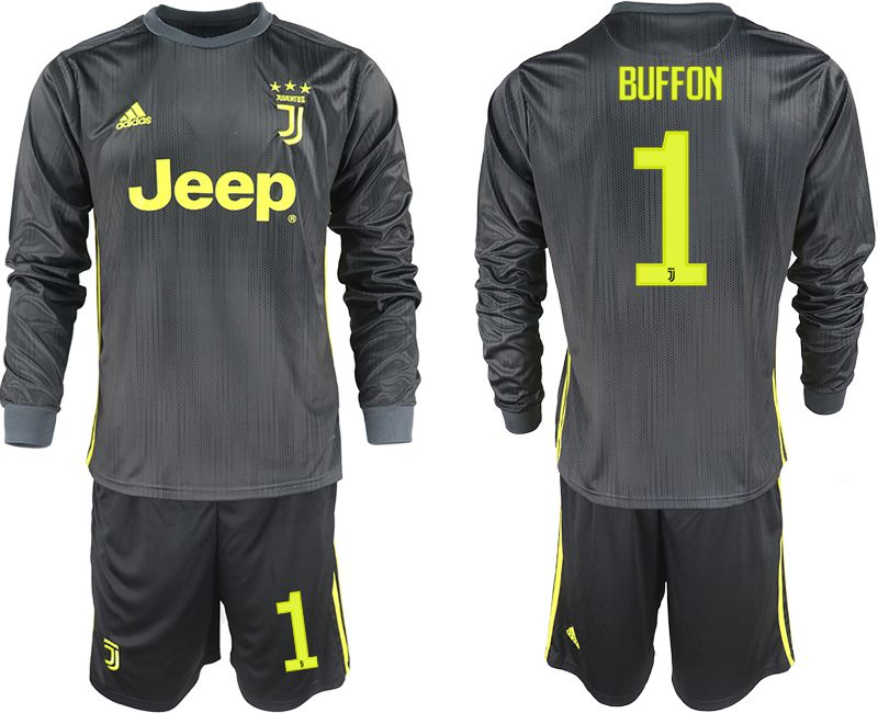 Men 2018-2019 club Juventus away long sleeves 1 black soccer jerseys