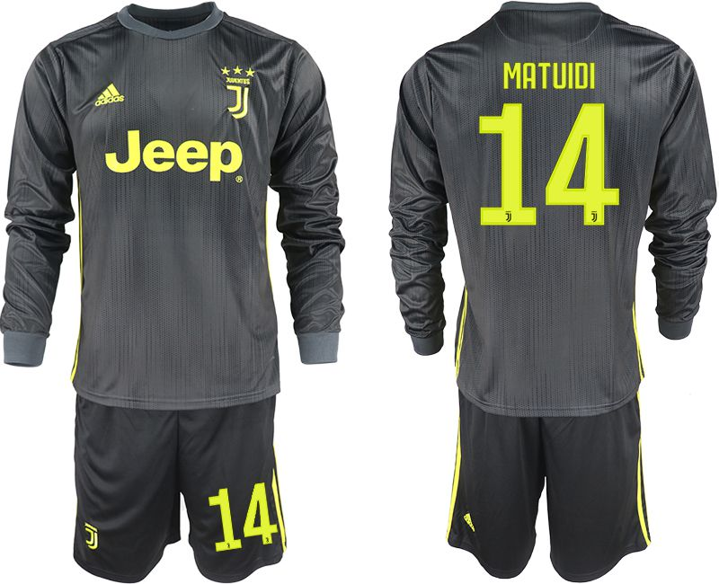 Men 2018-2019 club Juventus away long sleeves 14 black soccer jerseys