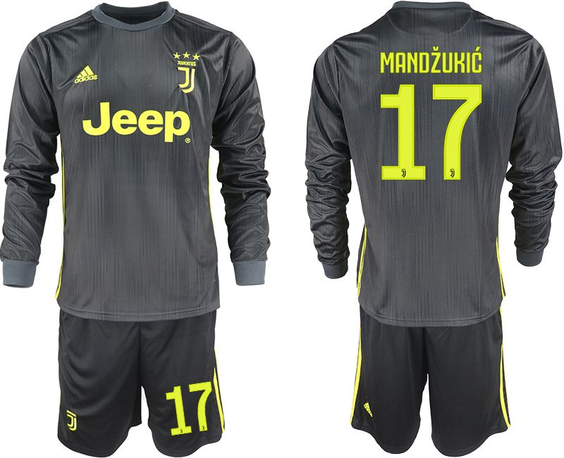 Men 2018-2019 club Juventus away long sleeves 17 black soccer jerseys