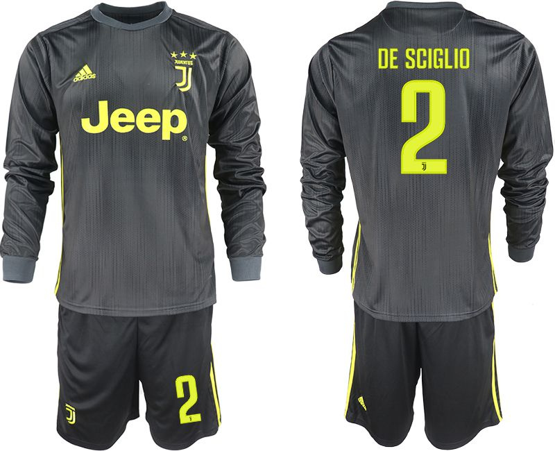 Men 2018-2019 club Juventus away long sleeves 2 black soccer jerseys