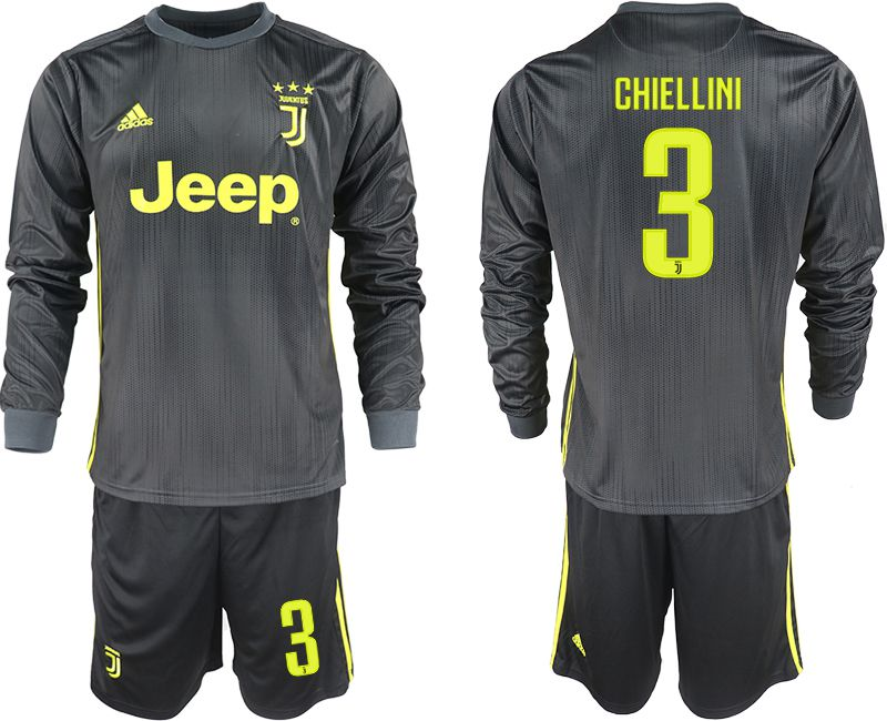 Men 2018-2019 club Juventus away long sleeves 3 black soccer jerseys