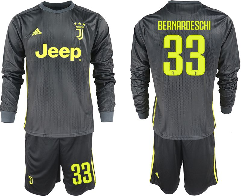 Men 2018-2019 club Juventus away long sleeves 33 black soccer jerseys