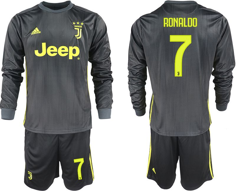 Men 2018-2019 club Juventus away long sleeves 7 black soccer jerseys