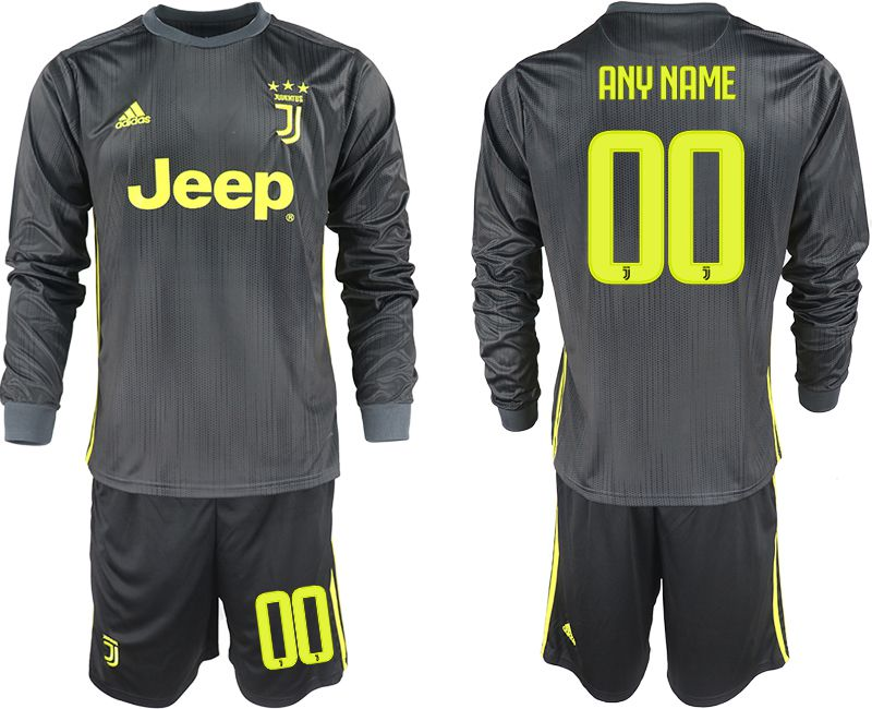 Men 2018-2019 club Juventus away long sleeves customized black soccer jerseys