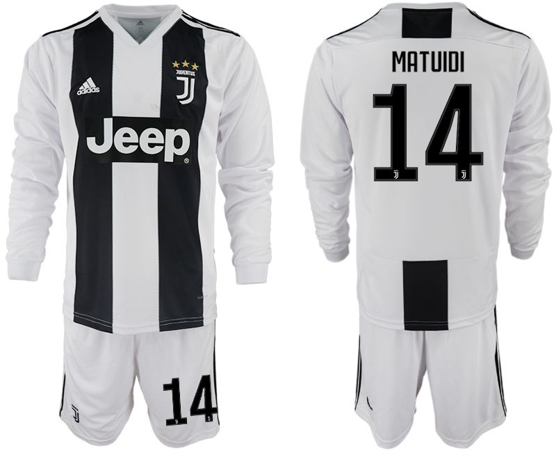 Men 2018-2019 club Juventus home long sleeves 14 white soccer jersey