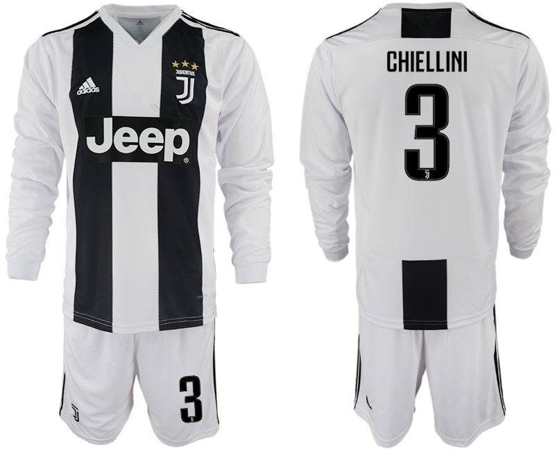Men 2018-2019 club Juventus home long sleeves 3 white soccer jersey