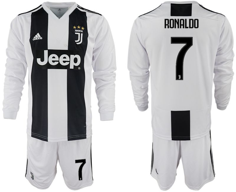Men 2018-2019 club Juventus home long sleeves 7 white soccer jersey