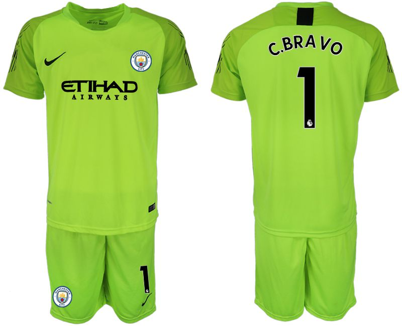 Men 2018-2019 club Manchester City FC fluorescent green goalkeeper 1 soccer jersey