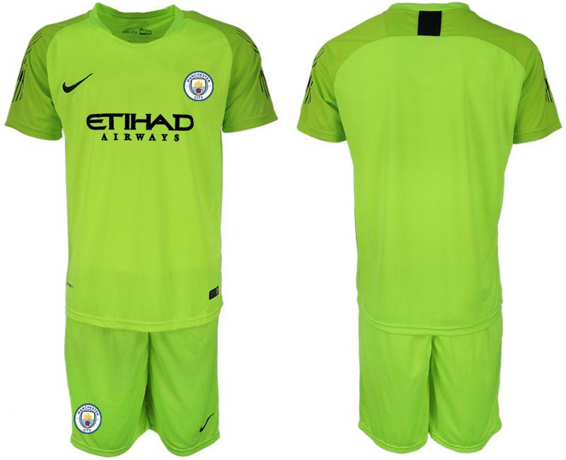 d0f3d2176 Men 2018-2019 club Manchester City FC fluorescent green goalkeeper soccer  jersey