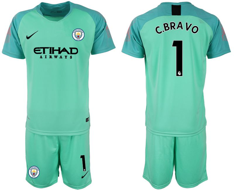 Men 2018-2019 club Manchester City FC green goalkeeper 1 soccer jersey