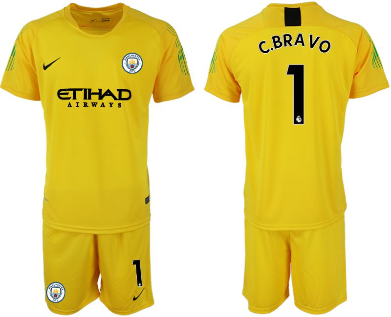 Men 2018-2019 club Manchester City FC yellow goalkeeper 1 soccer jersey