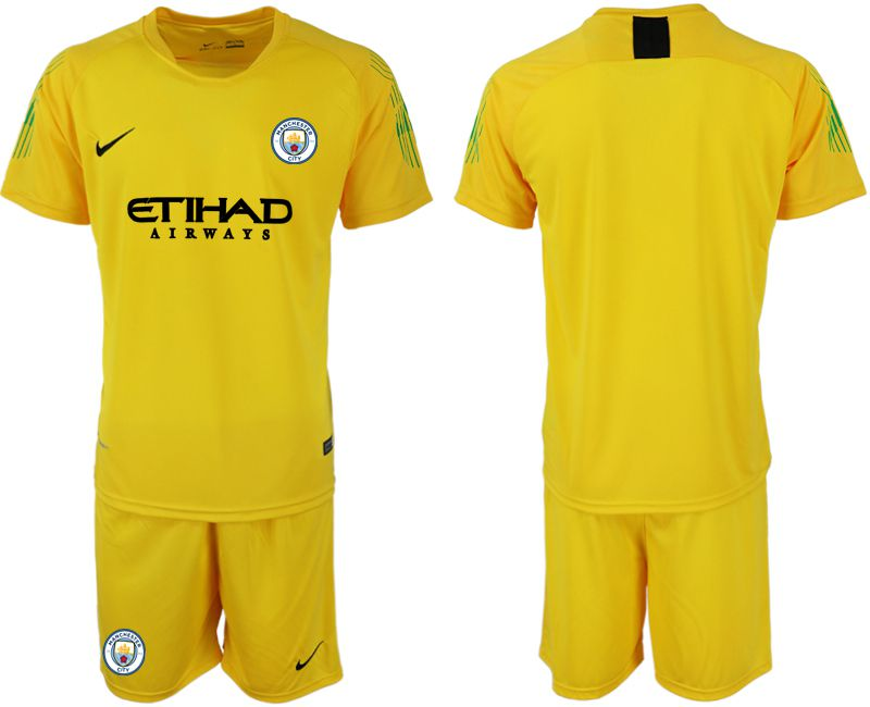 Men 2018-2019 club Manchester City FC yellow goalkeeper soccer jersey