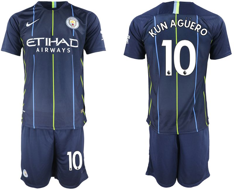 Men 2018-2019 club Manchester City away 10 blue soccer jersey