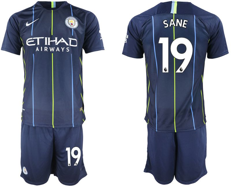 Men 2018-2019 club Manchester City away 19 blue soccer jersey