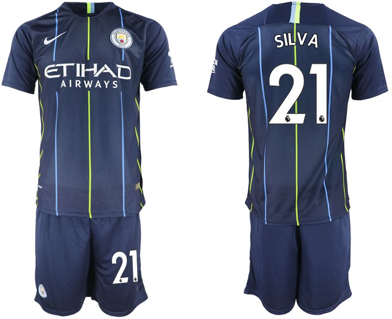 Men 2018-2019 club Manchester City away 21 blue soccer jersey
