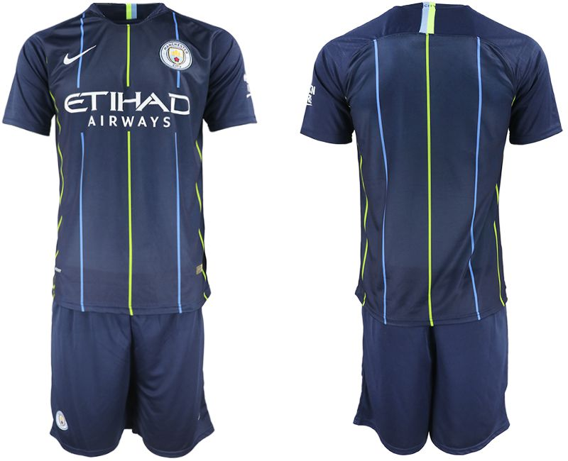 Men 2018-2019 club Manchester City away blue soccer jersey