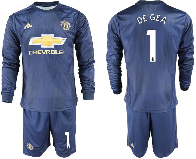 Men 2018-2019 club Manchester united away long sleeve 1 blue soccer jersey