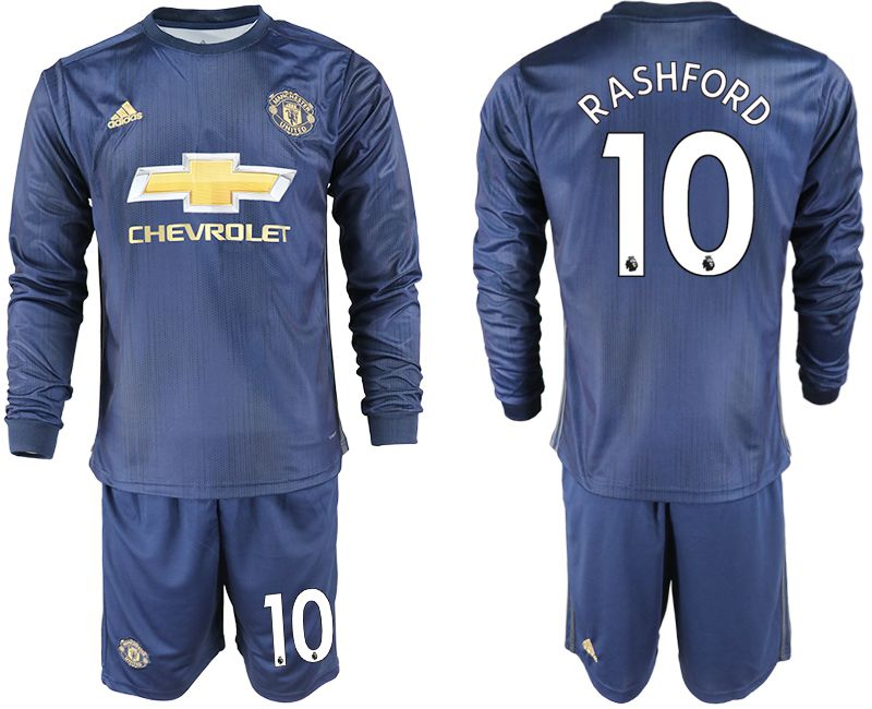 Men 2018-2019 club Manchester united away long sleeve 10 blue soccer jersey1
