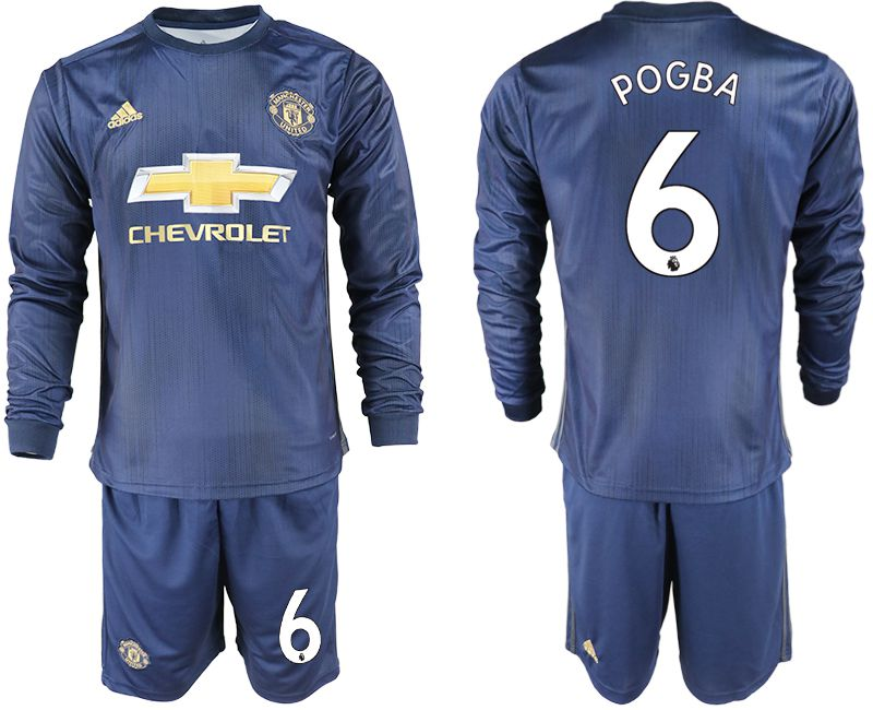 Men 2018-2019 club Manchester united away long sleeve 6 blue soccer jersey