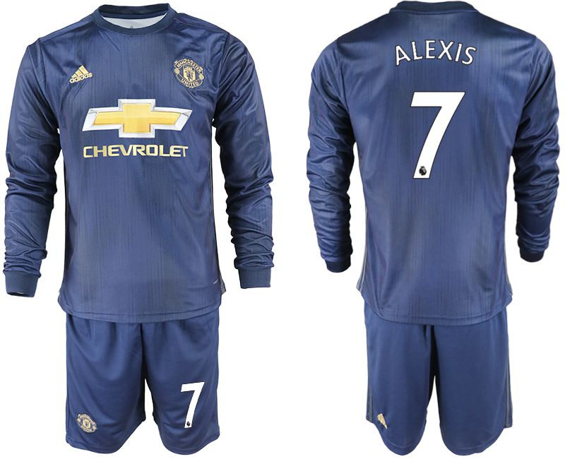 Men 2018-2019 club Manchester united away long sleeve 7 blue soccer jersey