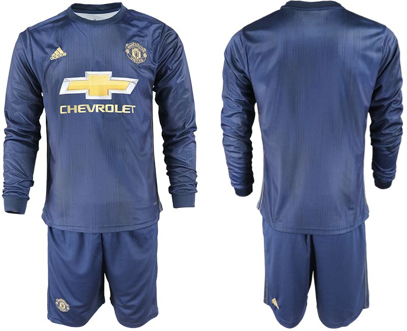 Men 2018-2019 club Manchester united away long sleeve blue soccer jersey