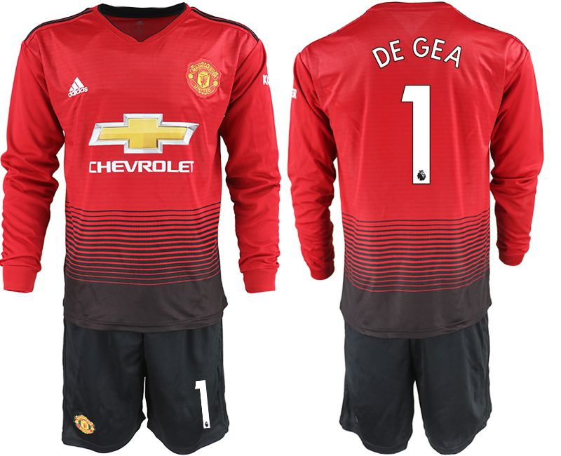 Men 2018-2019 club Manchester united home long sleeve 1 red soccer jerseys